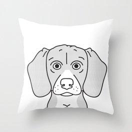 Beagle Portrait Print -Black and White Halftone Throw Pillow
