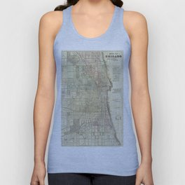 Vintage Map of Chicago (1857) Unisex Tank Top
