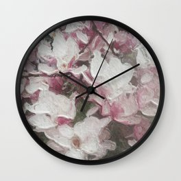 Magnolia Blooms in the Rain Wall Clock
