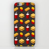 junk food iPhone & iPod Skins featuring Isometric junk food pattern by Irmirx
