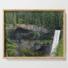 Beautiful Brandywine Falls in Rainforest Near Whistler, British Columbia Serving Tray