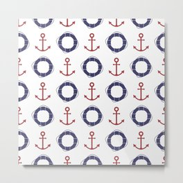 Blue and red nautical elements pattern Metal Print