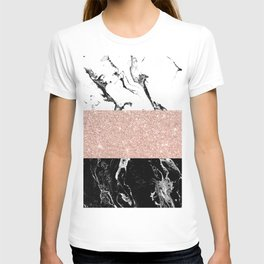 Modern black white marble rose gold color block stripes pattern T-shirt