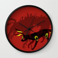 umbreon Wall Clocks featuring Umbreon by Katie O'Meara