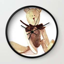 Brown Teddy Watercolor painting Wall Clock