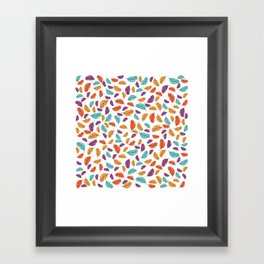 Graphic illustration of stylized and colorful birds Framed Art Print