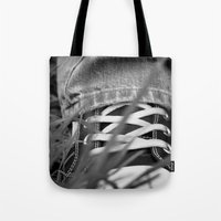 sneakers Tote Bags featuring Sneakers by Fine2art
