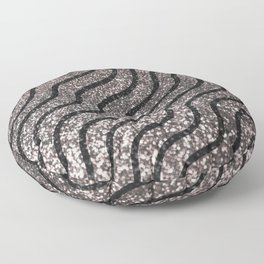 Silver Glitter With Black Squiggles Pattern Floor Pillow