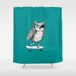 Ride On Owl_teal Shower Curtain