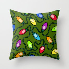 Christmas Tree Lights Pattern Throw Pillow