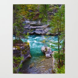 Hiking along the Maligne River in Jasper National Park, Canada Poster