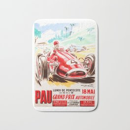 Grand Prix Pau, vintage poster, race poster Bath Mat