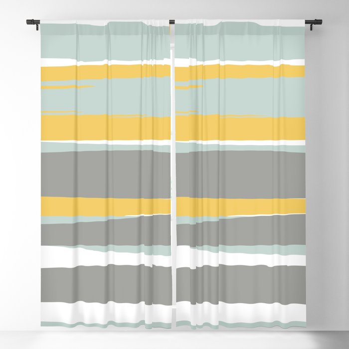 Stripe Abstract Sun And Beach Yellow Pale Aqua Blue Gray Blackout Curtain By Meganmorrisart