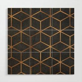 Charcoal and Gold - Geometric Textured Cube Design I Wood Wall Art