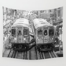 Black and White Chicago Train El Train above Wabash Ave the Loop Windy City Wall Tapestry