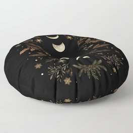 Moonlight Garden - Winter Brown Floor Pillow