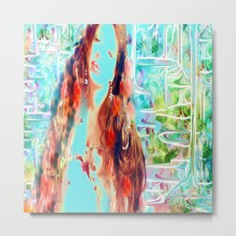 Swirling multi color goddess ladykashmir  Metal Print