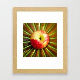 Apple on Mom's green plate Framed Art Print