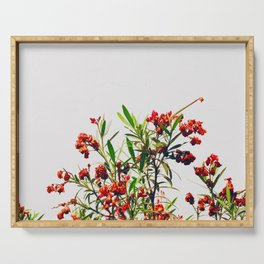 Minimal Red & Green Floral (Color) Serving Tray
