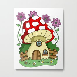 Toadstool Fairy House Metal Print