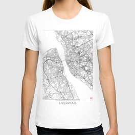 Liverpool Map White T-shirt