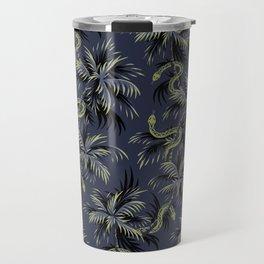 Snake Palms - Dark blue/gold Travel Mug