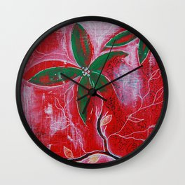 Red and green foliage fine art painting 3 of 3 Wall Clock