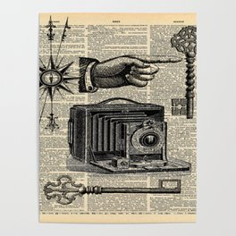 nautical compass dictionary print steampunk skeleton keys antique camera Poster