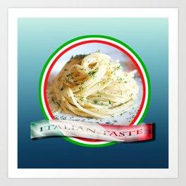 Food. Rolled spaghetti. Italian taste. Art Print