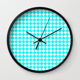Small Diamonds - White and Aqua Cyan Wall Clock