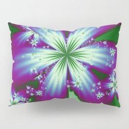 Purple Blue and Green Flowers Pillow Sham