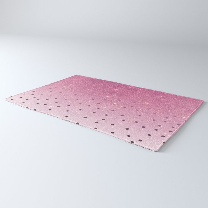 Black white polka dots pink glitter ombre Rug