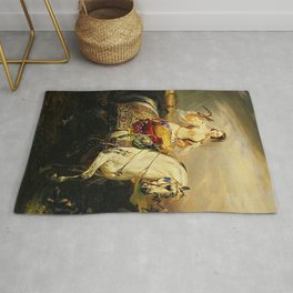 Classical Masterpiece An Algerian Lady Hawking by Horace Vernet Rug