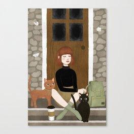 cats & coffee Canvas Print