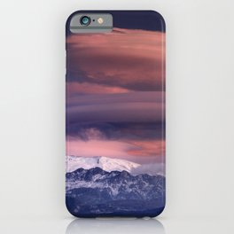 Lenticular clouds. Alayos mountains at sunset. iPhone Case