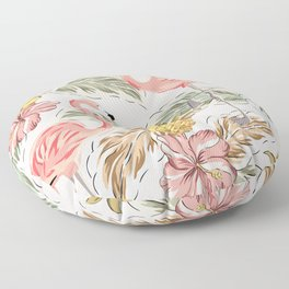 Art print in pink with flamingos, leaves and pineapple Floor Pillow