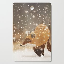 Sneaky smart fox in snowy forest winter snowflakes drawing Cutting Board