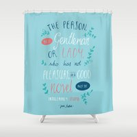 jane austen Shower Curtains featuring Jane Austen - Good Novel by Abbie Imagine