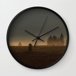 Misty Mountain Morning  // Golden Fog on the Pine Wall Clock