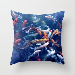 Koi Frenzy #2 Throw Pillow