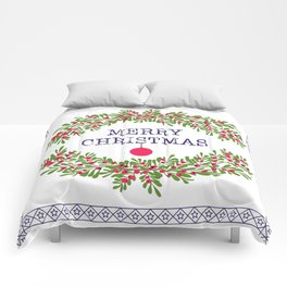 Merry christmas and happy new year white greeting card wreath light white background Comforters