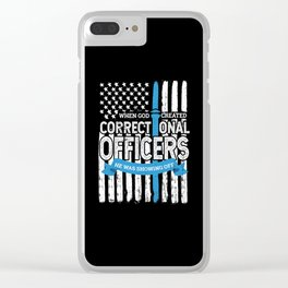 God Created Correctional Officers Patriotic Clear iPhone Case