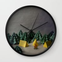 camp Wall Clocks featuring camp by Chelsea Gass