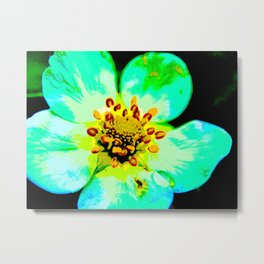 Solarized Strawberry Flower Metal Print