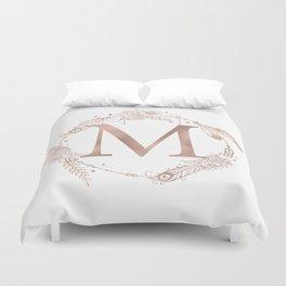 Letter M Rose Gold Pink Initial Monogram Duvet Cover