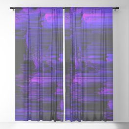 Ultraviolet Light Speed - Abstract Glitch Pixel Art Sheer Curtain