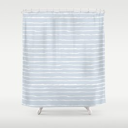 Grey and White Winter Stripes Shower Curtain