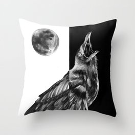 Crow and Full Moon Throw Pillow