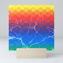 Grunge rainbow rhombs Mini Art Print