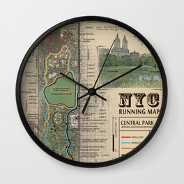 "NYC's Central Park [Vintage Inspired] ""San Remo"" Running route map Wall Clock"